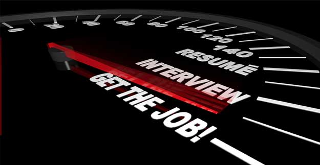 Picture of speedometer with Resume, Interview, and Get the Job text on the speedometer.