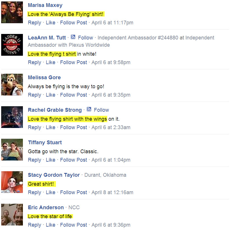 Always Be Flying T-shirt testimonials from facebook 10