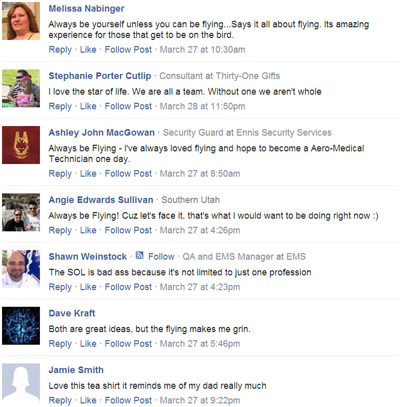Always Be Flying T-shirt testimonials from facebook