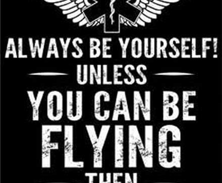 Always be flying back of shirt design in black
