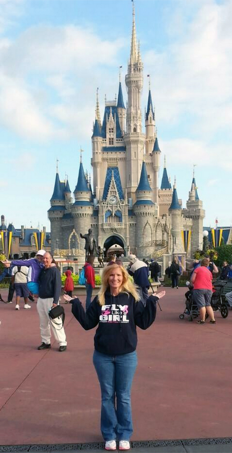 Alana Scalia, Flight Nurse, wearing Fly Like a Girl Hoodie in Disneyland