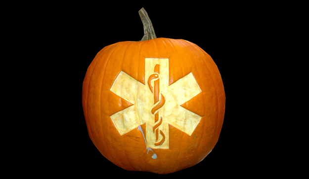 Pumpkin with Star of Life carved into center