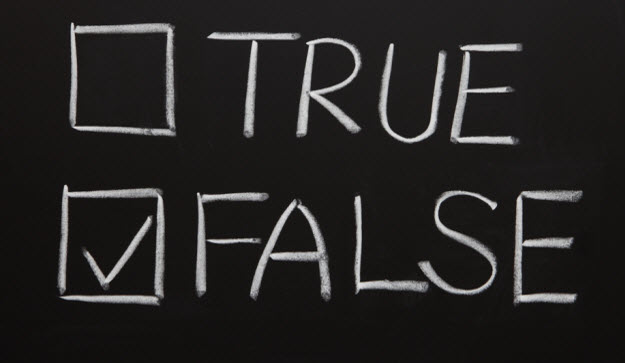 True and False text on chalkboard with False Checked
