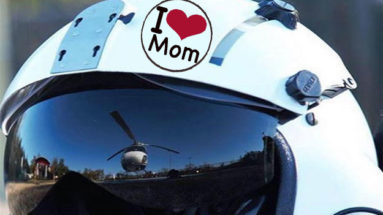 """Flight Helmet with """"I Love Mom"""" sticker"""