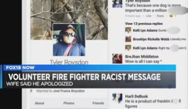 Ohio Firefighter Says He'd Save Dog from Fire Before a Black Man
