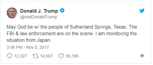 President Trump tweet about Texas shooting