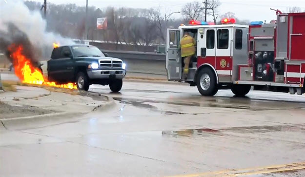 Video: Runaway Fire Engine Almost Hits Burning Pickup Truck