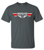Firefighter Landing Zone Wings Charcoal T-shirt
