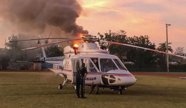 Medical Helicopter Catches Fire Enroute to Stabbing Victim
