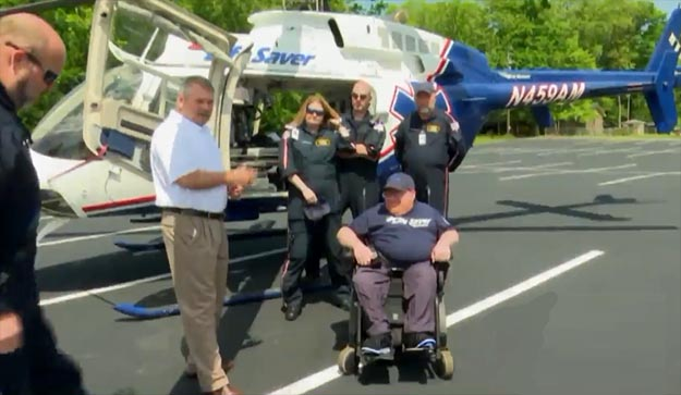 First Responders Thank Disabled Man with Surprise Helicopter Ride
