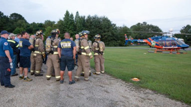 Local Firefighters Train With UF's ShandsCair Medical Helicopter
