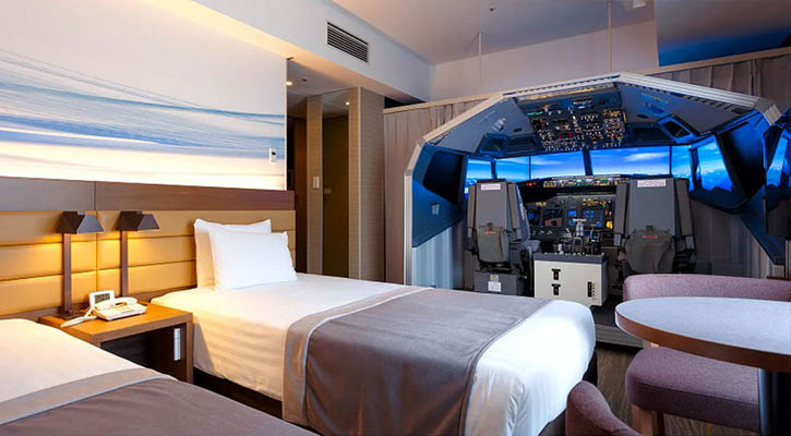 Book Your Hotel Room with a Life Size Flight Simulator