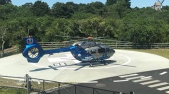 Boston MedFlight Using Nantucket Cottage Hospital Helipad Again