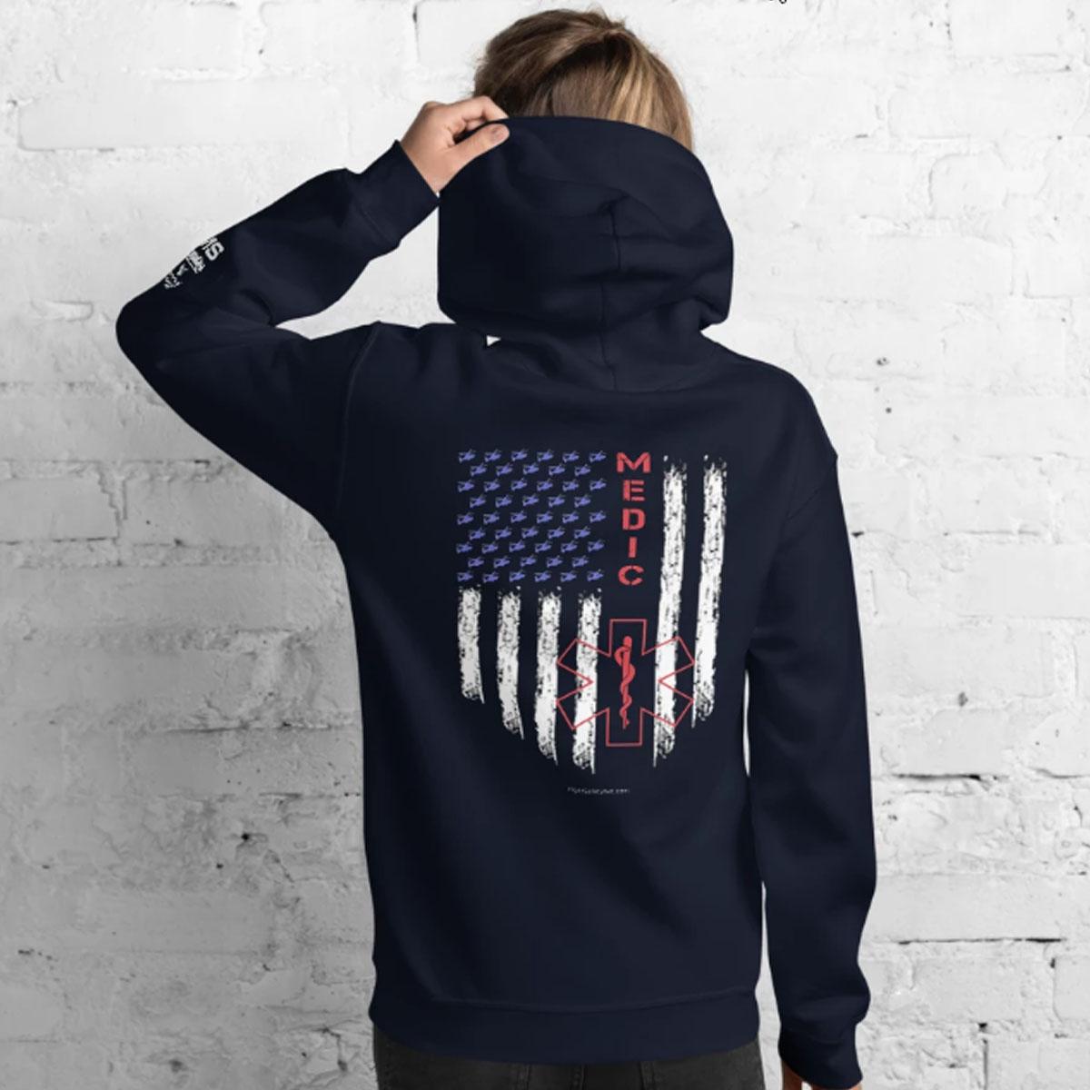 American Medic Pride Navy Hoodie back