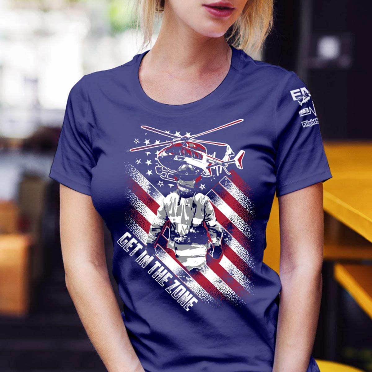 Firefighter Get In the Zone Navy Tshirt