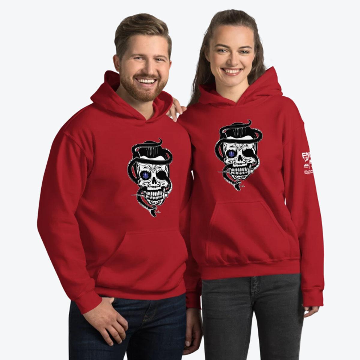 Sugar Skull Red Hoodie Couple 1200
